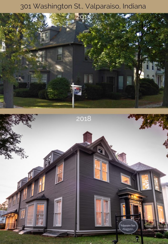 Before and after 301 Washington Street home in Valparaiso Indiana
